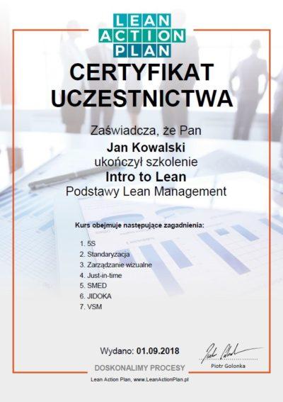 certyfikat intro to lean