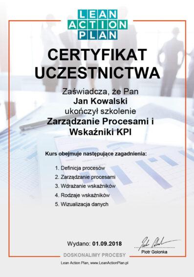 Certyfikowany kurs online Zarządzanie procesami i wskaźniki KPI