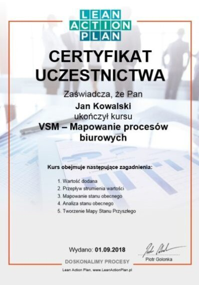 Certyfikowany kurs VSM - Mapowanie procesów biurowych