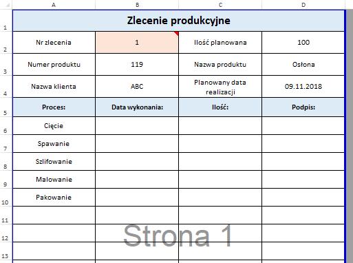 Zlecenie produkcyjne Excel