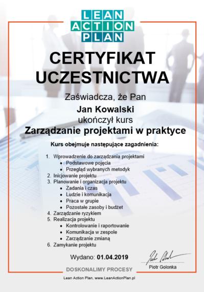 Certyfikat Zarządzanie Projektami