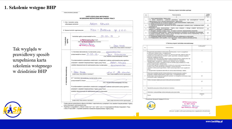 Szkolenie wstępne BHP formularz