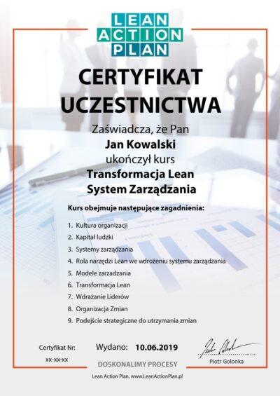Certyfikat ukończenia szkolenia online Transformacja Lean - System Zarządzania