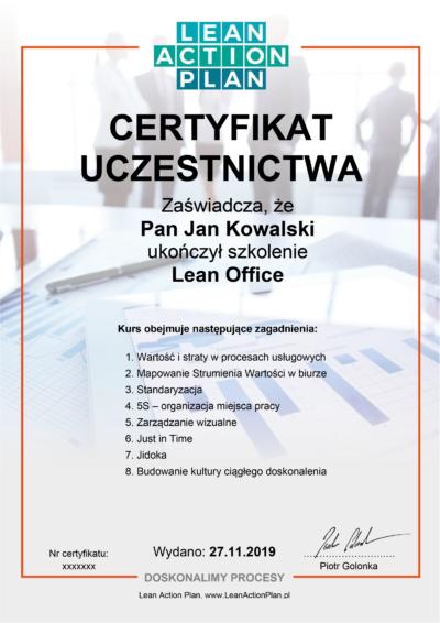 Certyfikowany kurs online Lean Office