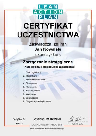 Certyfikowany kurs Zarządzanie strategiczne