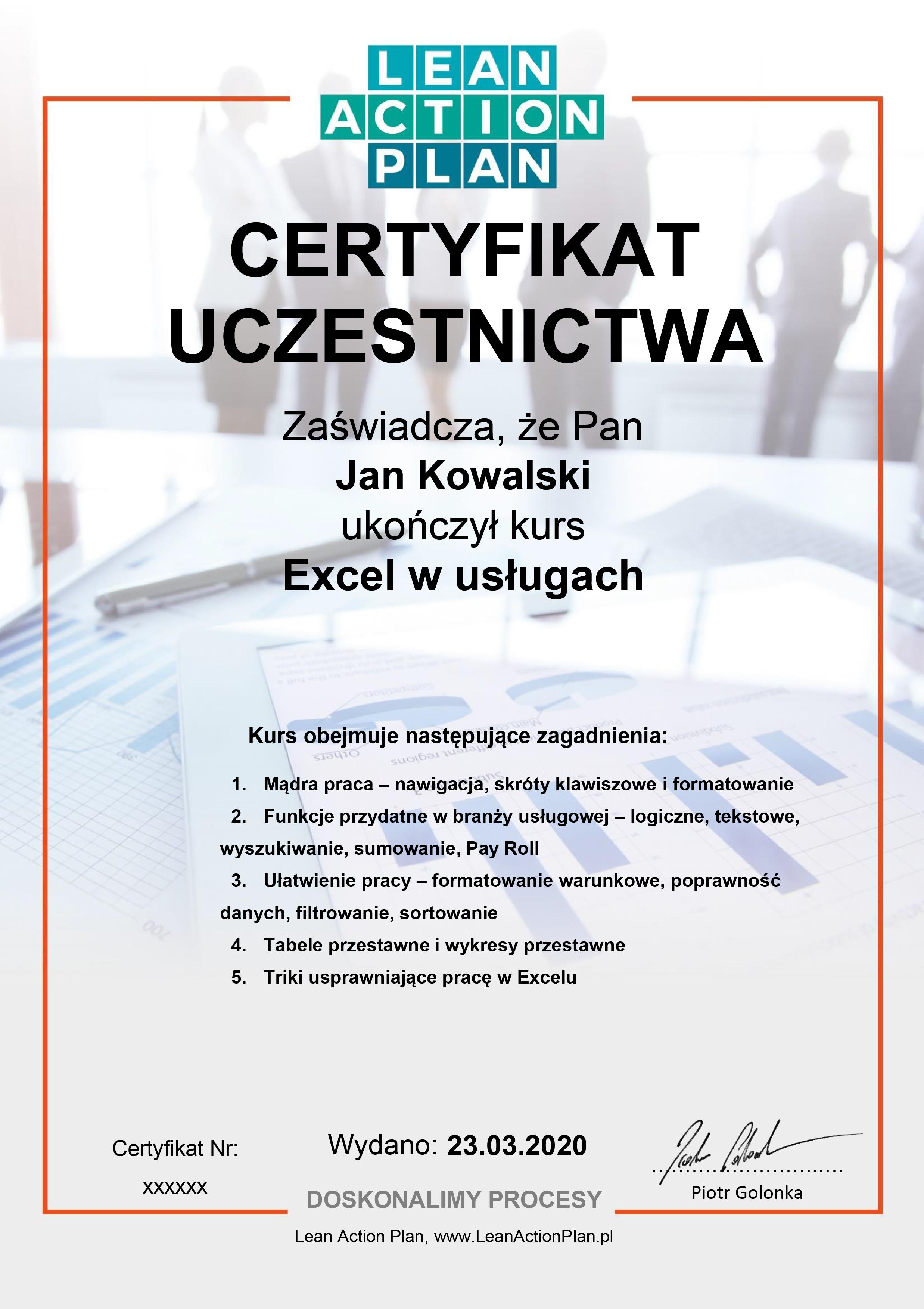 Certyfikowany Kurs Excel w usługach