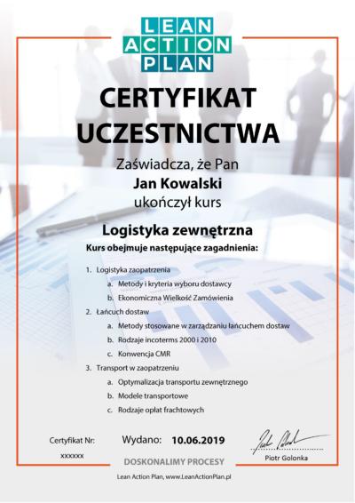 Certyfikowany kurs online Logistyka Zewnętrzna