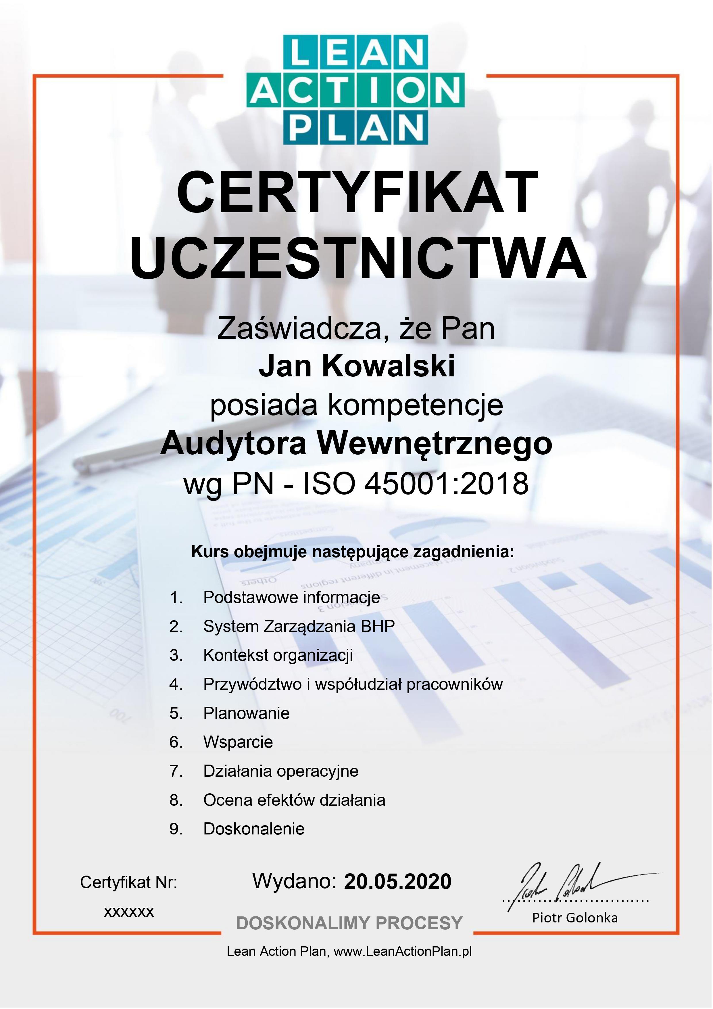 Certyfikat ISO 45001:2018