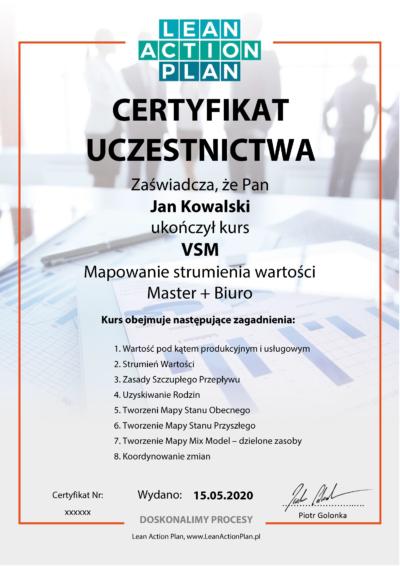 Certyfikowany kurs online VSM - Master + Biuro