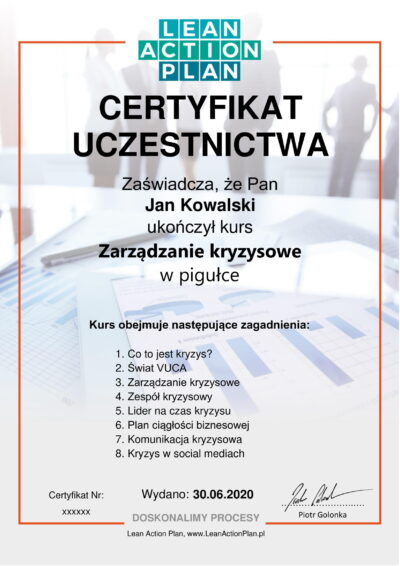 Certyfikat zarządzanie kryzysowe