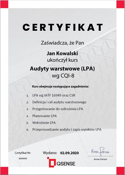 certyfikat Audyty warstwowe (layered process)