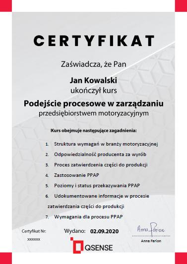 certyfikat PPAP