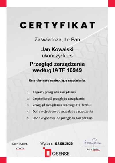 certyfikat IATF 16949 - kursy lean