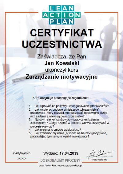 Certyfikat Zarządzanie motywacyjne