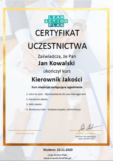 Certyfikat Kierownik Jakości
