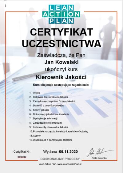 Certyfikat Kierownik Jakości kursylean.pl
