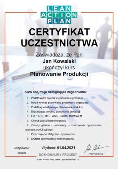Certyfikat planowanie produkcji